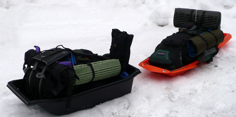 The Otter II and the Paris Expedition sled loaded with backpacks.